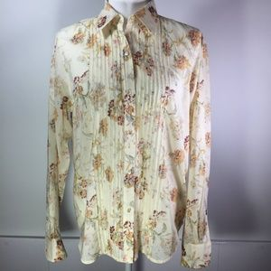 Lauren Ralph Lauren Cream w/Brown Floral Blouse M